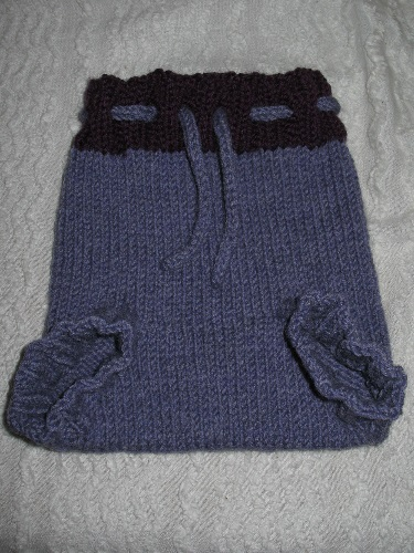 Hand-knit wool soaker.