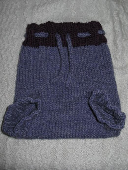Hand-knit wool soaker.
