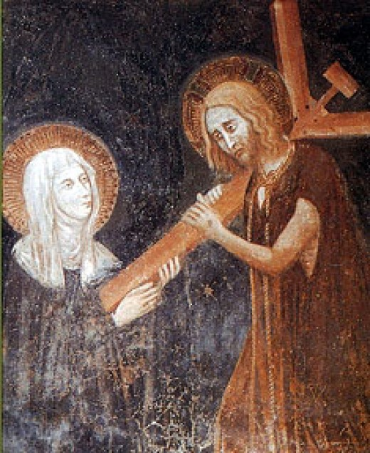 Christ implanting his Cross in the heart of Saint Clare of the Cross; author unknown.
