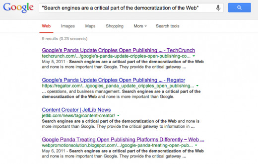 Example of healthy site ranking above scrapers