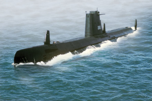 Submarine on the water's surface.