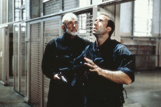Stanley Goodspeed (Nicholas Cage) and John Patrick Mason (Sean Connery) talk strategy.