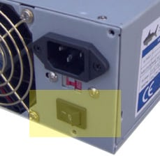 Example of back of power supply often seen on the back of a computer.