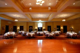 Fully decorated wedding reception room