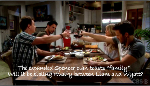 Wyatt is welcomed to the Spencer clan with a toast  - to family.