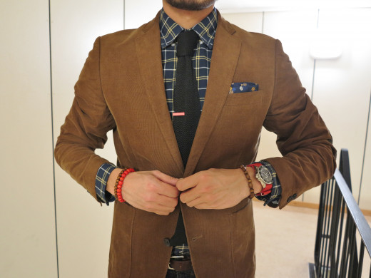 Sport coat with plaid shirt and tie
