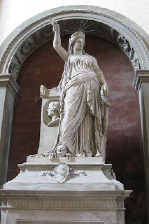 The statue of the Freedom of Poetry (XIX century) in the Florence Church of Santa Croce. Someone believes it has been the model for the Statue of Liberty.