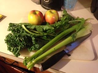 Kale, Dandelion Greens, celery and Apple before prep