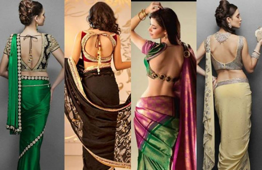 party wear saree with blouse design