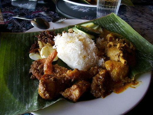 Nasi lemak - one of the most popular local Malay dishes
