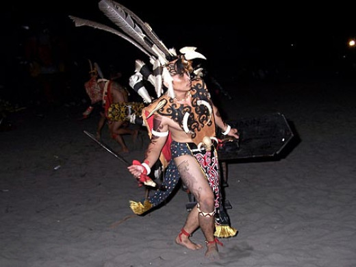 Ngajat dance performed during the traditional Gawai Festival of the Ibans