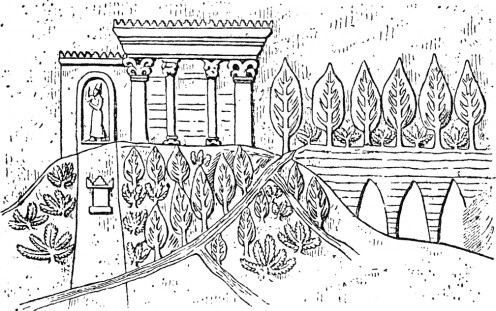 A depiction of the Hanging Gardens.