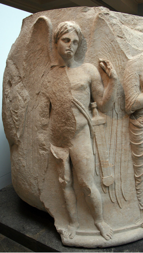 Winged youth with a sword, probably Thanatos, personification of death. Detail of a sculptured marble column drum from the Temple of Artemis at Ephesos, ca. 325-300 BC. Found at the south-west corner of the temple.