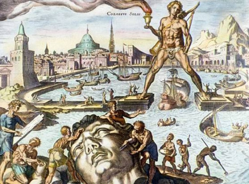 The Colossus of Rhodes, depicted in this hand-coloured engraving by Martin Heemskerck, was built about 280 bc. Standing 30 m (100 ft) high, it was built to guard the entrance to the harbor at Rhodes.