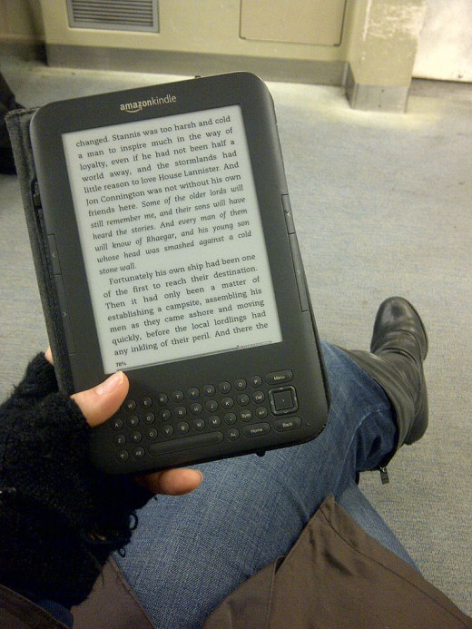Reading a Kindle on Public Transit