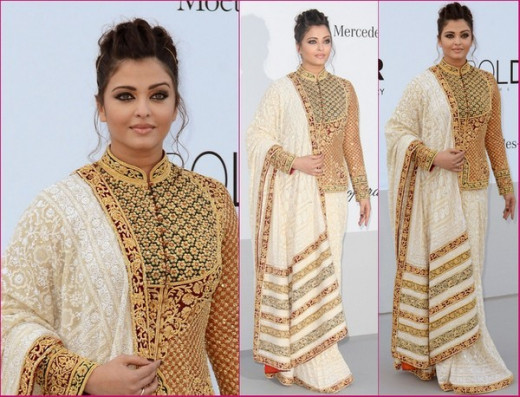 Aishwarya Rai in Abu Jani-Sandeep Khosla emsemble at the Canned Film Festival in 2012.