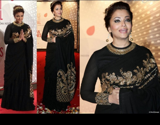 Aishwarya  in Sabyasachi designer lehenga saree at the 2013 film festival.