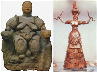 A comparison of the Goddess of Catal Huyuk and the classic depiction of her from the Minoan Civilization