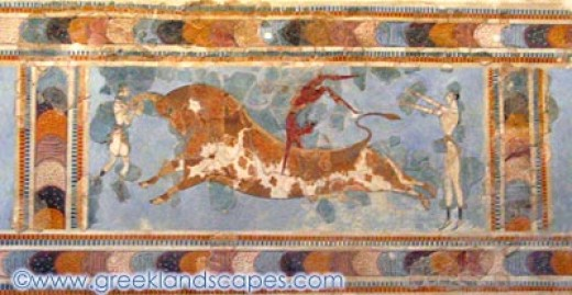 """A fresco that alludes to """"bull dancing,"""" perhaps a form of sacrifice, but we cannot be sure.  Perhaps it was a game or sport."""