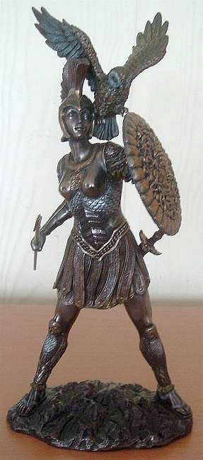 Athena as warrior goddess.  Note the familiarity with animals.