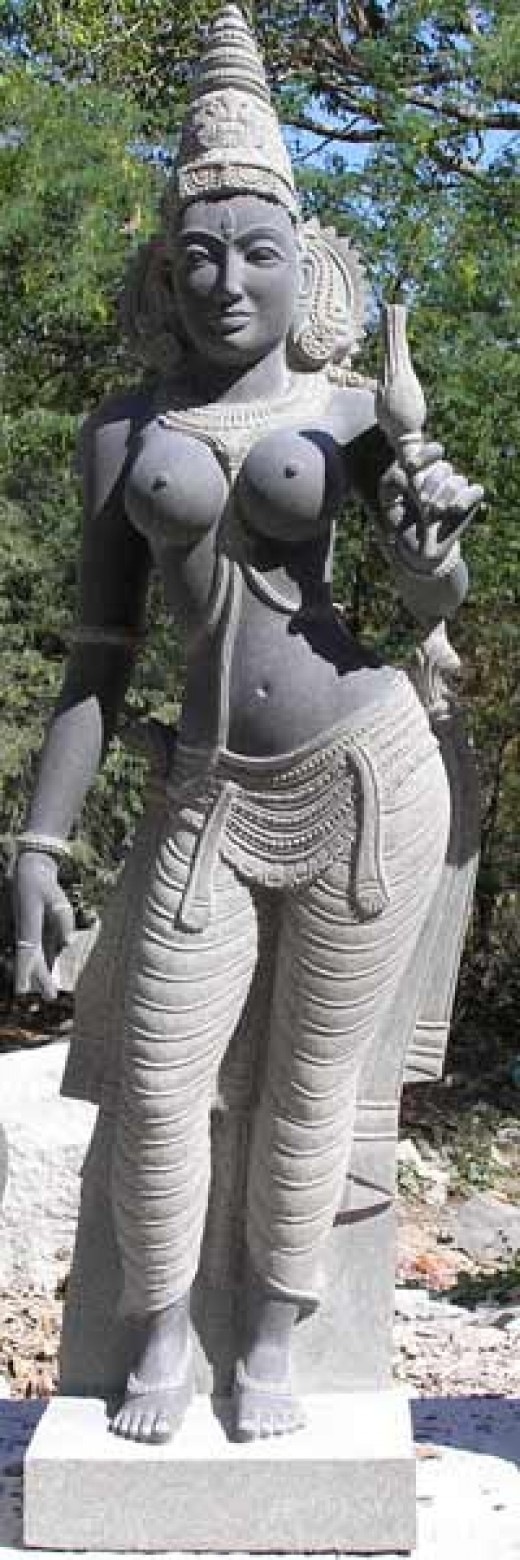 Parvati, partially taken from her context as a river Goddess and given hints of eroticism.