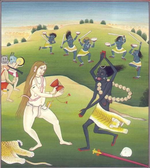 Shiva charms Kali.