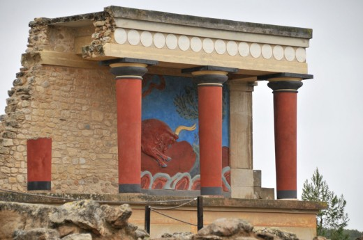 Remains of the Temple of Knossos, its existence shows the move from domestic house-shrines to larger structures.
