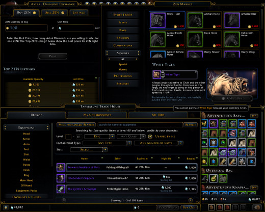 All of Neverwinter's 3 main currencies: Zen, Astral Diamonds, and Gold