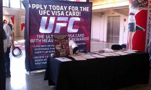 Card issuers commonly set up booths such as this one to encourage customers to apply for their cards at sporting events