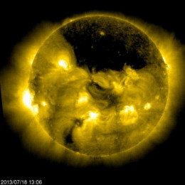 This huge coronal hole coincides with a Cronal Mass Ejection that barely missed the Earht three weeks ago that would have wiped out the world's electrical grid completely.