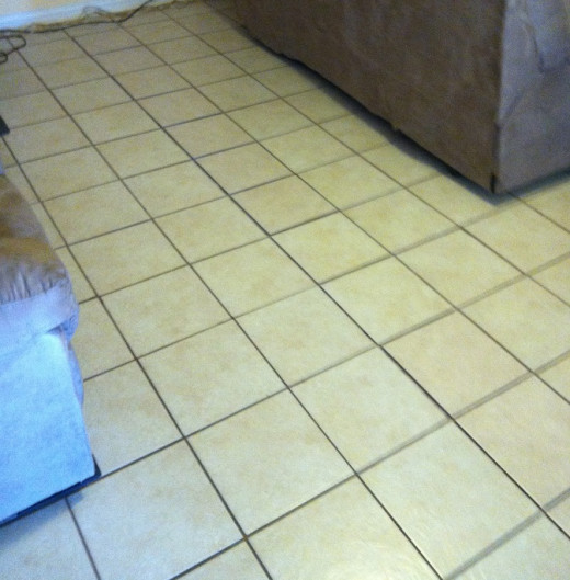 New tiles set in place, dry-fit to check for proper clearances and level.