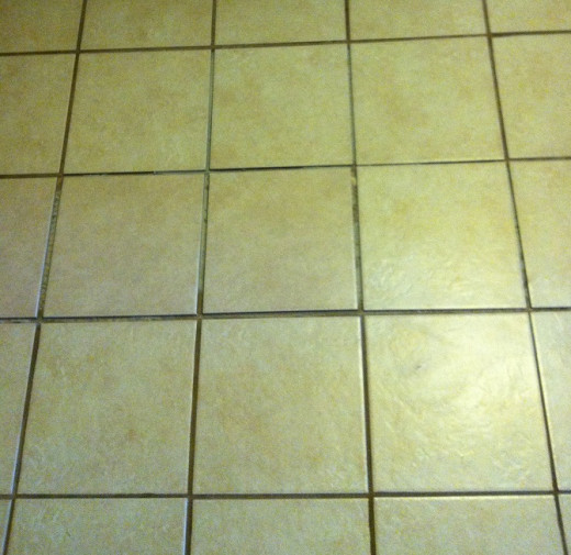 The tiles installed over the thin set mortar, straightened and leveled. The next step is to add the grout, but only after the thin set mortar has had time to dry.