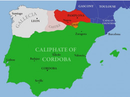 Green Area shows maximum extent of Andalusia (Al-Ándalus) under Moorish rule - Christian Conquests had shrunk this area considerably by time Ibn Khaldun's parents left area.