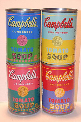 "Buy Campbell Soup  and you can consume synthetic sex hormones The four 50th Anniversary ""Art Of Soup"" Campbell's Tomato Soup cans featuring a facsimile autograph by, portrait of, and quote from, Andy Warhol."