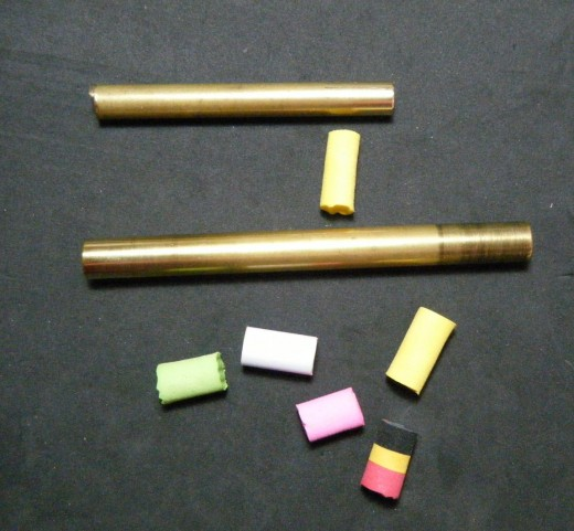 Brass tubes used to make foam cores
