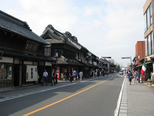 Warehouse-styled buildings of the Edo Period lining Kurazukuri Street