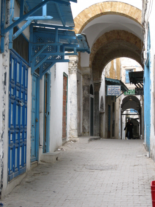 Narrow Street in the Medina section of Old Tunis, Tunisia.