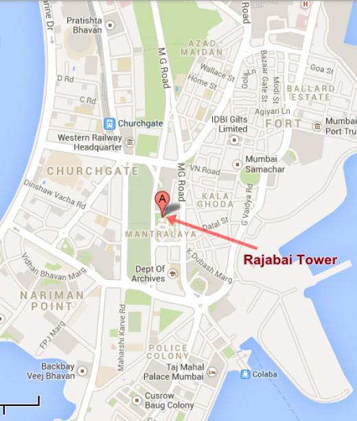 Rajabai Tower Map