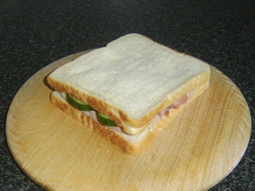 Second slice of bread is placed on top of sandwich