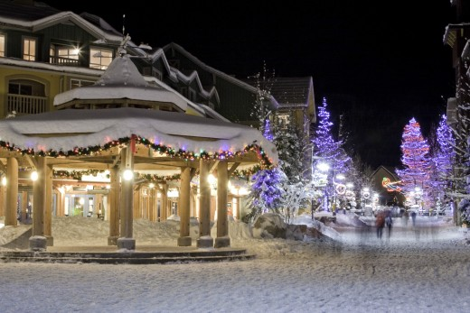 Whistler Village decorated for the holidays.