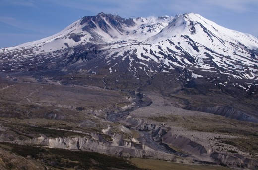 Mount St. Helens and the path its eruption left.