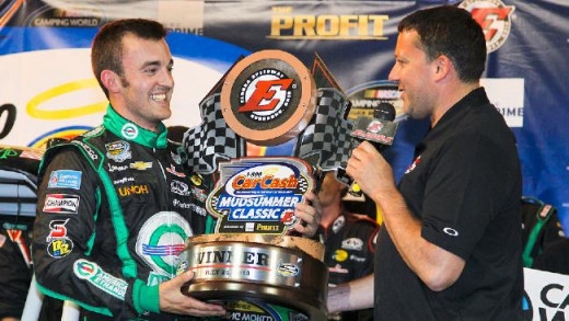 Tony Stewart congratulates Austin Dillon for winning the Mudsummer Classic earlier this year