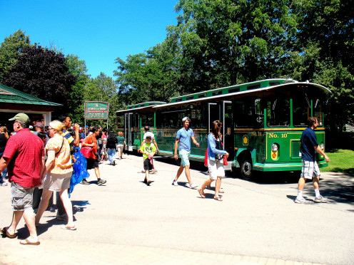 ABROAD THIS STATE OF THE ART  TROLLY WITH A KNOWLEDGEABLE GUIDE YOU CAN EXPLORE THE NIAGARA FALLS ATTRACTIONS IN 30 MINUTES.