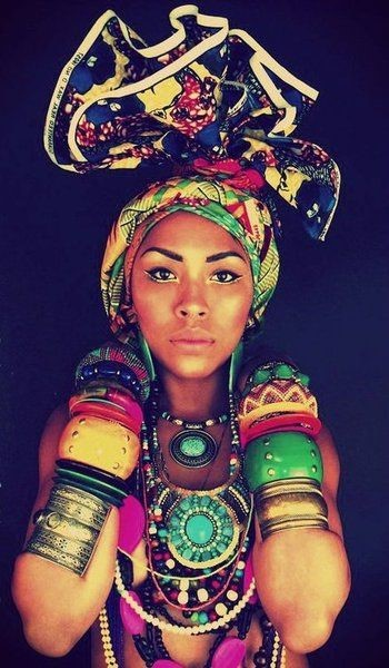 AFRICAN BEADED NECKLACES, BANGLES AND HEAD DRESS