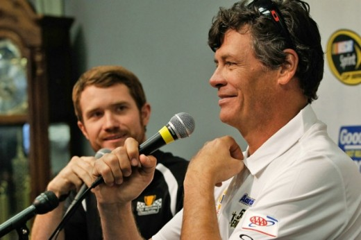Brian Vickers (left) with team owner Michael Waltrip
