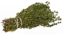 Here you see a photo of a bunch of my Thyme. I Grow my own then have a dehydrator that I use to dry the herb so I can store it to be used throughout the year.