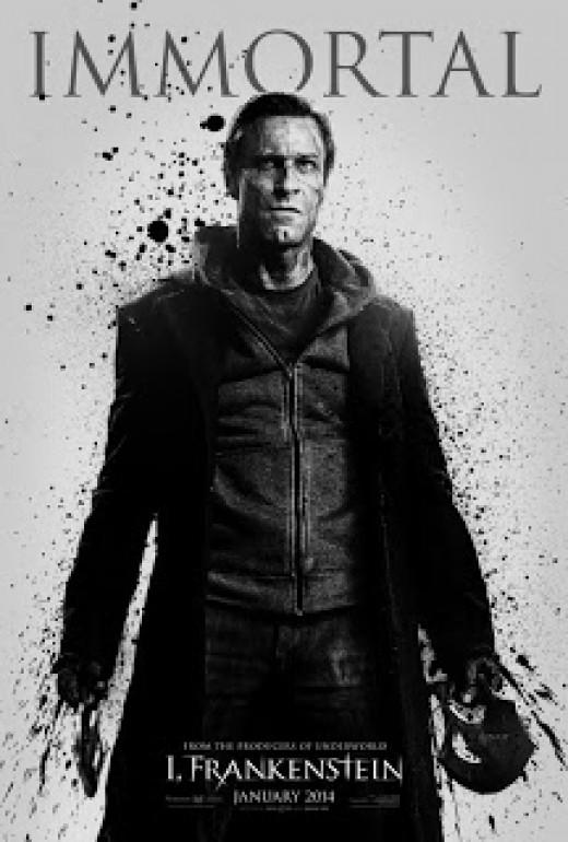 Actor Aaron Eckart as Frankenstein.