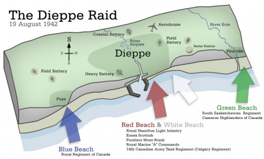 Map of the Canadian landing areas at Dieppe.