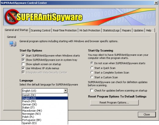Super antispyware control center: startup