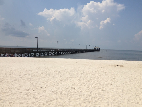 Photo showing the other direction on the beach, from where the Biloxi Lighthouse is.